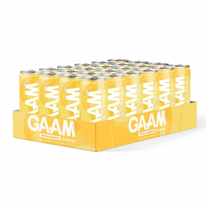 24 x GAAM Energy, 330 ml, Tropical Pineapple i gruppen Drycker / Energidryck hos Proteinbolaget (PB-12159)