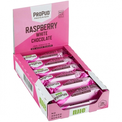 12 x NJIE ProPud Proteinbar, 55 g, Raspberry White Chocolate i gruppen Bars / Proteinbars hos Proteinbolaget.se (PB-17598)