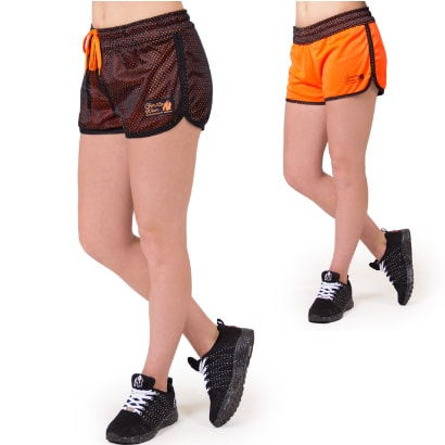Gorilla Wear Madison Reversible Shorts, Black/Neon Orange i gruppen Träningskläder / Shorts hos Proteinbolaget.se (PB-3278)
