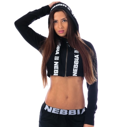 NEBBIA Cropped Hooded Jacket, Black