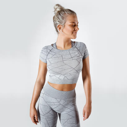Workout Empire SHMN Cropped Tee Silver Grey