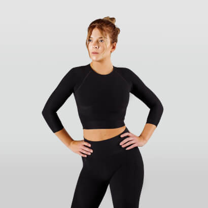 Workout Empire Regalia Flow Crop 3/4 Sleeve Obsidian Black