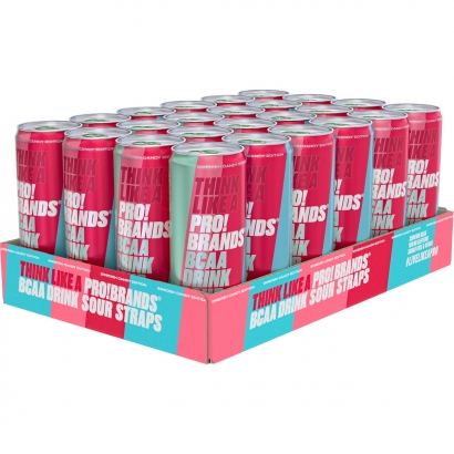 24 x Pro Brands BCAA Drink Candy Edition, 330 ml, Sour Straps i gruppen Drycker / Energidryck hos Proteinbolaget (PB-3677)