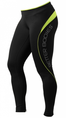 Better Bodies Fitness long tights, Black/Lime i gruppen Träningskläder / För henne / Tights hos Proteinbolaget.se (PB-4659)