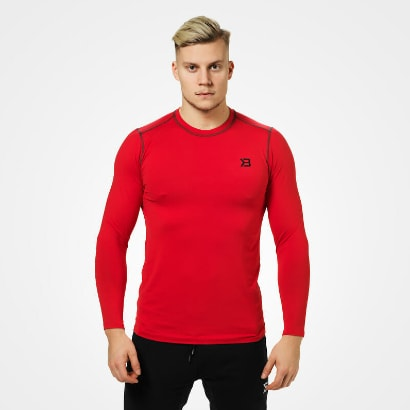 Better Bodies Performance Long Sleeve Bright Red i gruppen Träningskläder / Tröjor hos Proteinbolaget.se (PB-7640)
