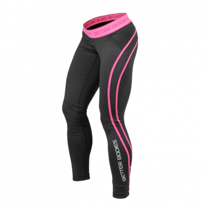 Better Bodies Women's Athlete Tights, black/pink i gruppen Träningskläder / För henne / Tights hos Proteinbolaget.se (PB-8543)