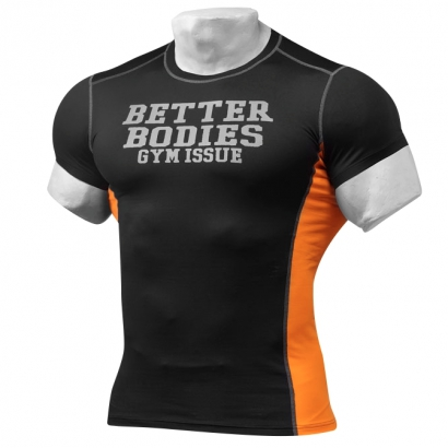 Better Bodies Tight Fit Tee Black/Orange i gruppen Träningskläder / För honom / T-shirt hos Proteinbolaget.se (PB-9512)