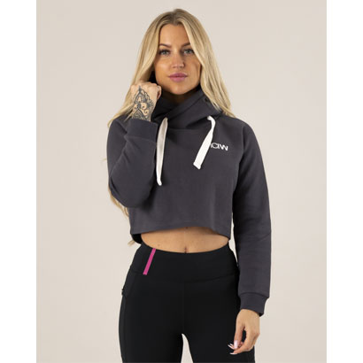ICANIWILL Crop Top Hoodie, Graphite