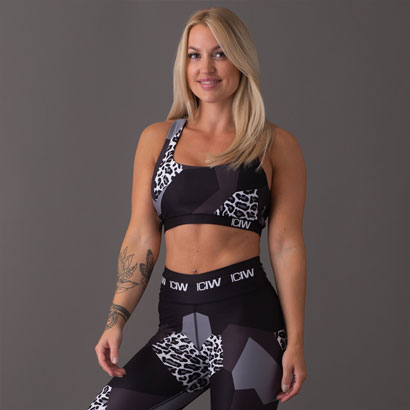 ICANIWILL Leo Sports Bra, Black Grey