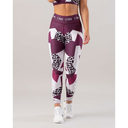 ICANIWILL Leo Tights, Maroon White