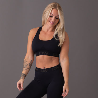 ICANIWILL Seamless Sport Bra, Black Dark Grey