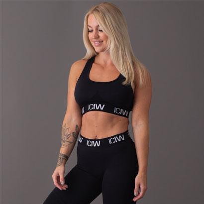 ICANIWILL Seamless Sport Bra, Black White