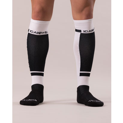 ICANIWILL Perform Long Socks, Black White