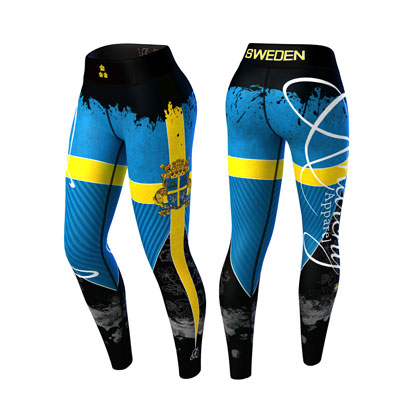 Anarchy Apparel Sweden Nation Legging 3.0 Blue/yellow i gruppen Träningskläder / För henne / Tights hos Proteinbolaget.se (PB-9853)