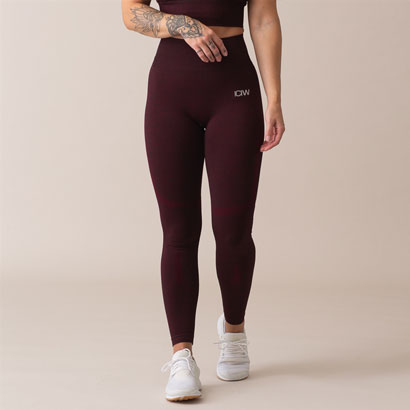 ICANIWILL Queen Mesh Seamless Tights, Burgundy