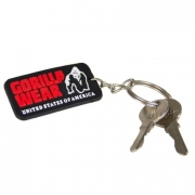 Gorilla Wear Rubber Logo Keychain, Black/Red