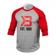 Better Bodies Mens Baseball Tee Red Greymelange