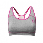 Better Bodies Sports Bra, Greymelange/pink