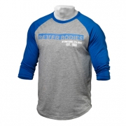 Better Bodies Mens Baseball Tee Blue Greymelange
