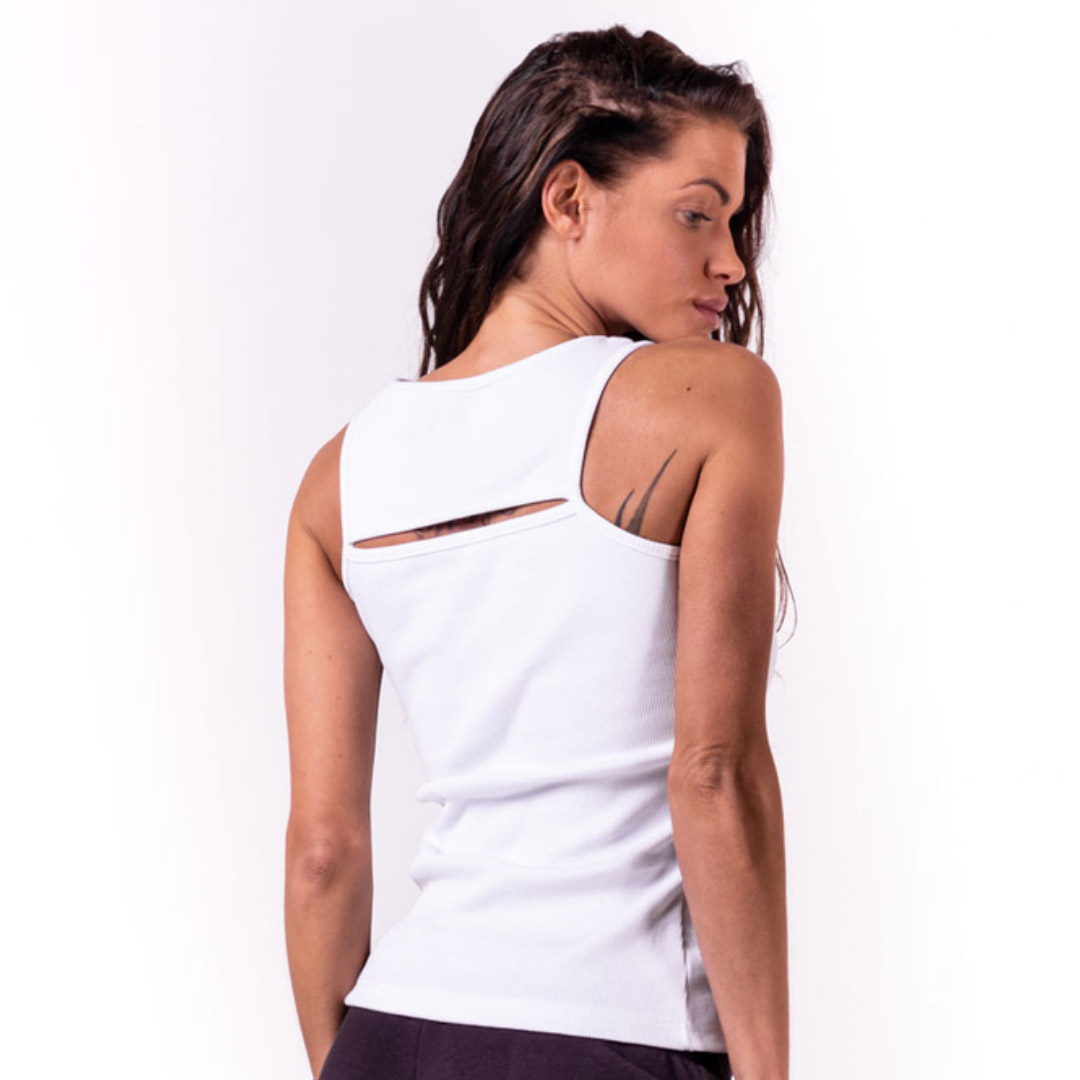 NEBBIA Rib Cut Out Top, White
