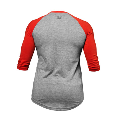 Womens Baseball Tee, Grey Melange/Red
