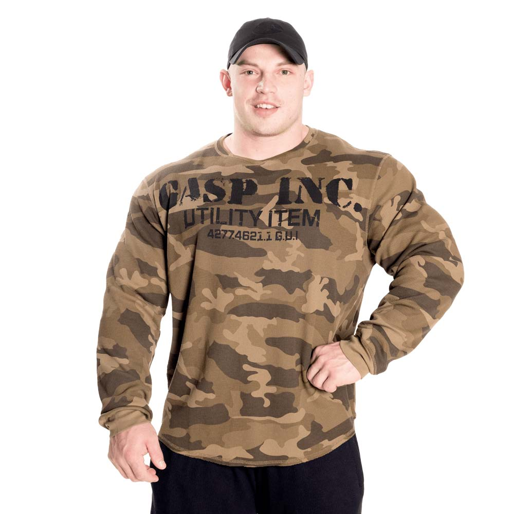 GASP Thermal Gym Sweater Green Camoprint