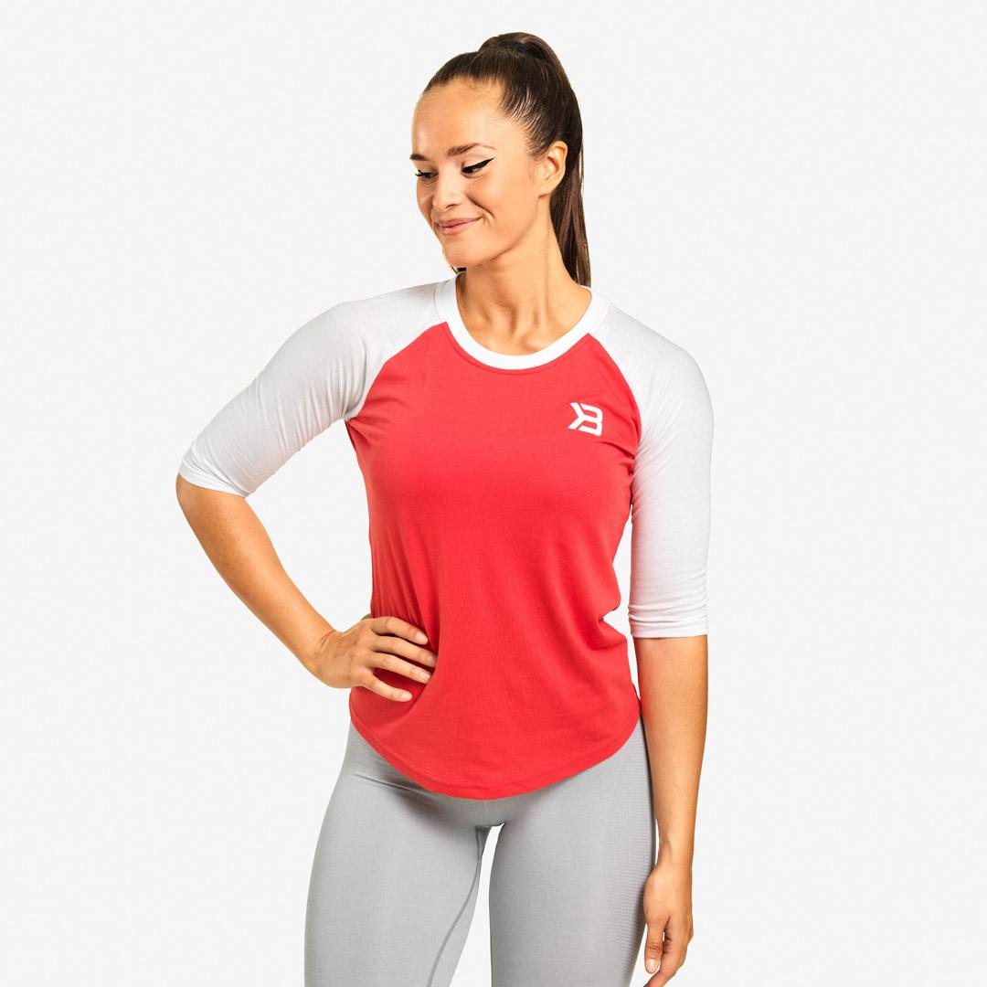 Better Bodies Womens Baseball Tee, Raspberry, S