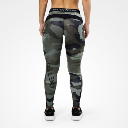 Better Bodies Camo long tights, Green Camo print