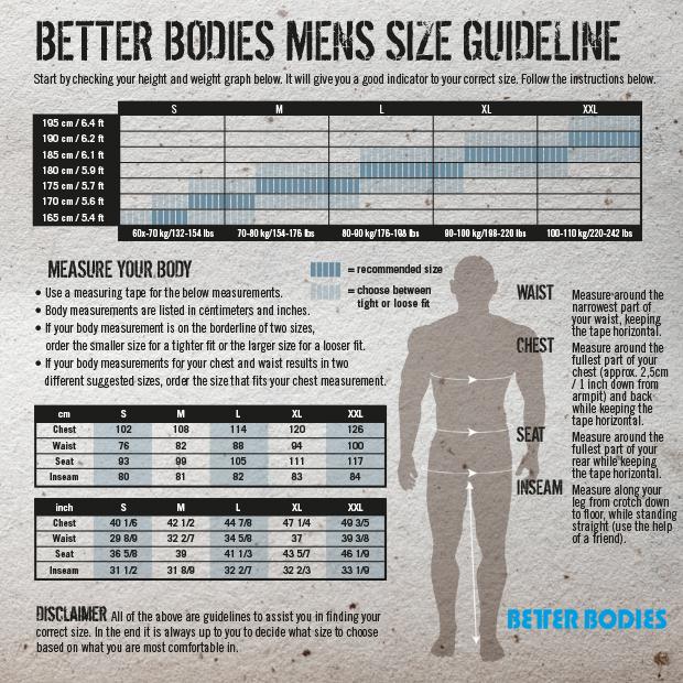 Better Bodies Storleksguide för män