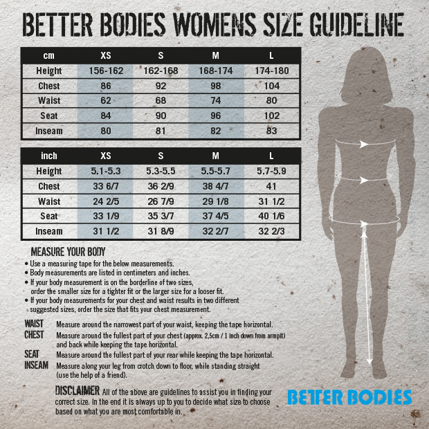 Better Bodies Storleksguide