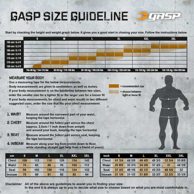 GASP storleksguide för män